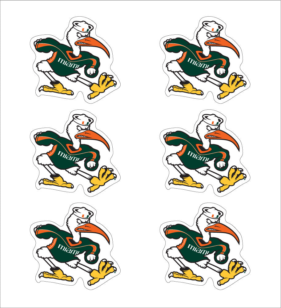 "Miami Hurricanes 1"" Ibis Decals (6-pack) - CanesWear at Miami FanWear Decals & Stickers SDS Design Associates CanesWear at Miami FanWear"