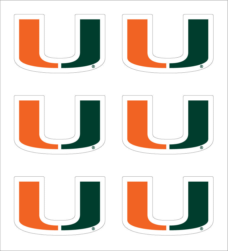 "Miami Hurricanes 1"" U Logo Decal (6pk) - CanesWear at Miami FanWear Decals & Stickers SDS Design Associates CanesWear at Miami FanWear"