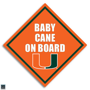 "Miami Hurricanes Baby Cane On Board Decal 3"" - CanesWear at Miami FanWear Decals & Stickers SDS Design Associates CanesWear at Miami FanWear"