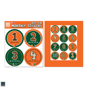 Miami Hurricanes Baby First Year Monthly Sticker Pack
