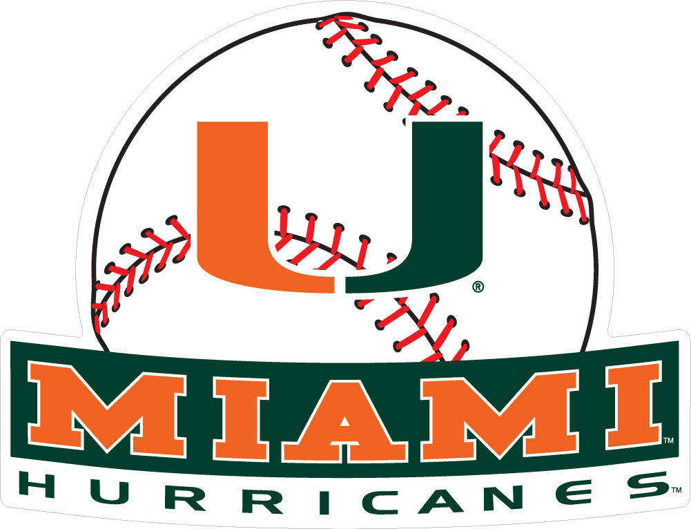 "Miami Hurricanes 2"" Baseball Dizzler Decal - CanesWear at Miami FanWear Decals & Stickers SDS Design Associates CanesWear at Miami FanWear"