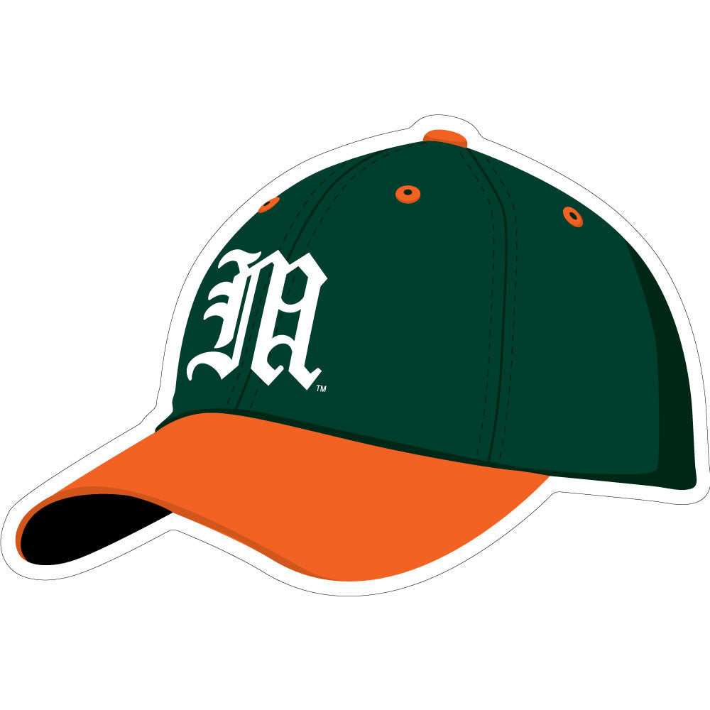 "Miami Hurricanes 3"" Baseball Hat Decal - CanesWear at Miami FanWear Decals & Stickers SDS Design Associates CanesWear at Miami FanWear"