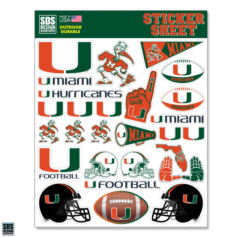 Miami Hurricanes Football Sticker Sheet - 27 Stickers