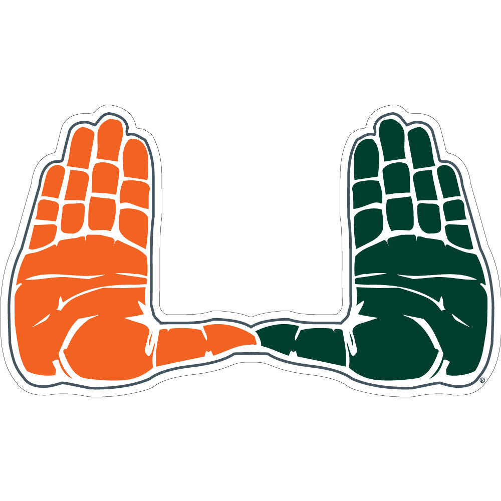 "Miami Hurricanes 2"" U Hands Dizzler Decal - CanesWear at Miami FanWear Decals & Stickers SDS Design Associates CanesWear at Miami FanWear"