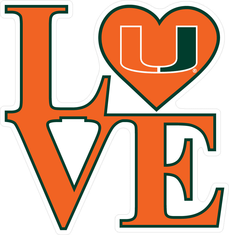 Miami Hurricanes Love Decal - CanesWear at Miami FanWear Decals & Stickers SDS Design Associates CanesWear at Miami FanWear
