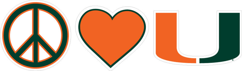 "Miami Hurricanes 2"" Peace Love Miami Dizzler Decal - CanesWear at Miami FanWear Decals & Stickers SDS Design Associates CanesWear at Miami FanWear"