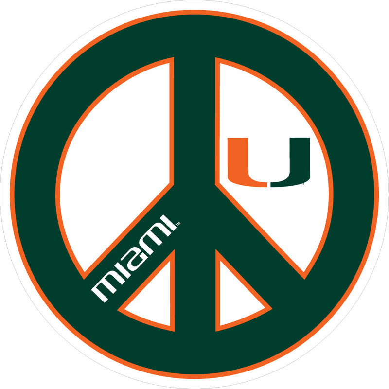 "Miami Hurricanes 3"" Peace Decal - CanesWear at Miami FanWear Decals & Stickers SDS Design Associates CanesWear at Miami FanWear"