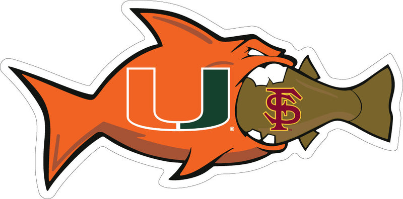 Miami Hurricanes Rival FSU Fish Decal - CanesWear at Miami FanWear Decals & Stickers SDS Design Associates CanesWear at Miami FanWear