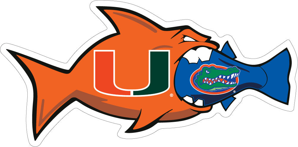 "Miami Hurricanes 3"" Rival UF Fish Decal - CanesWear at Miami FanWear Decals & Stickers SDS Design Associates CanesWear at Miami FanWear"