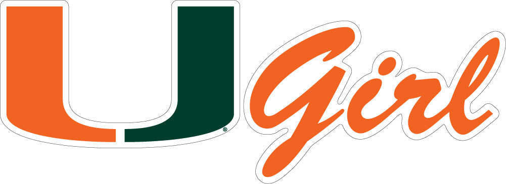 "Miami Hurricanes 2"" U Girl Dizzler - CanesWear at Miami FanWear Decals & Stickers SDS Design Associates CanesWear at Miami FanWear"