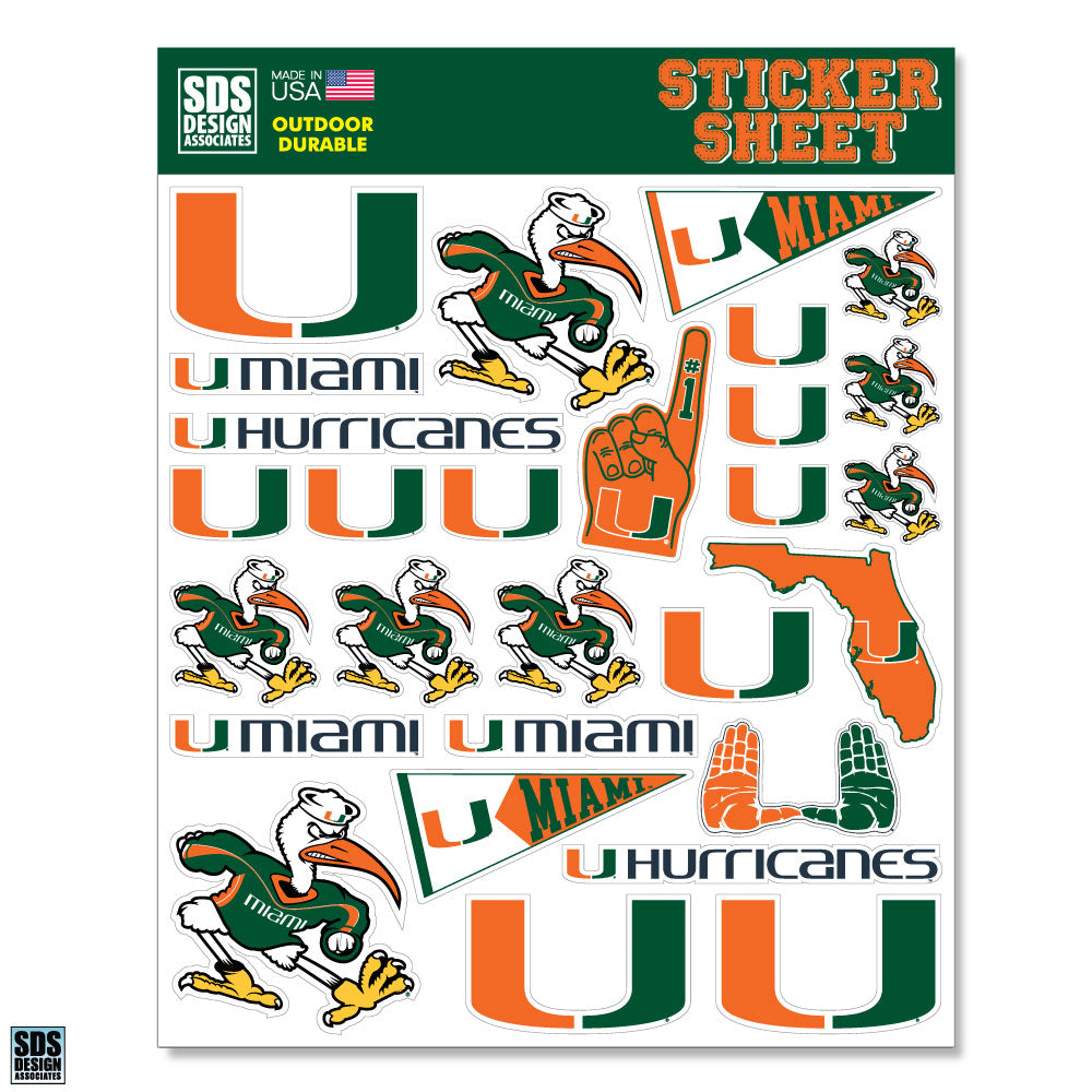 Miami Hurricanes Logos Stickers Sheet - 28 Stickers