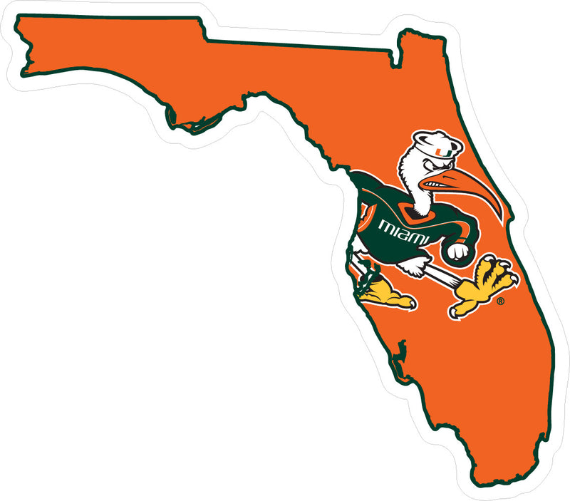 Miami Hurricanes Decal State of Florida with Sebastian - CanesWear at Miami FanWear Decals & Stickers SDS Design Associates CanesWear at Miami FanWear