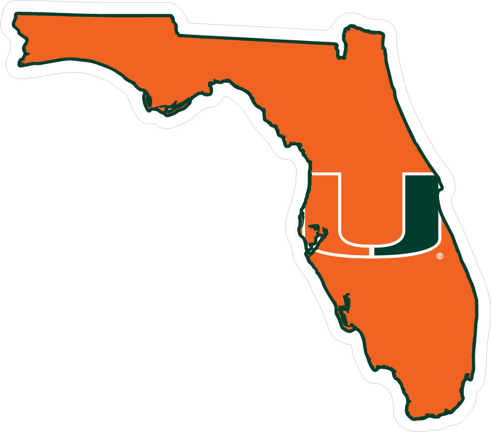 Miami Hurricanes Decal State of Florida with U - CanesWear at Miami FanWear Decals & Stickers SDS Design Associates CanesWear at Miami FanWear
