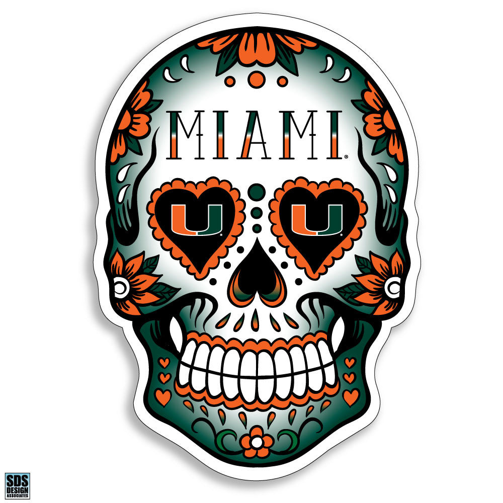 Miami Hurricanes Sugar Skull Decal - CanesWear at Miami FanWear Decals & Stickers SDS Design Associates CanesWear at Miami FanWear
