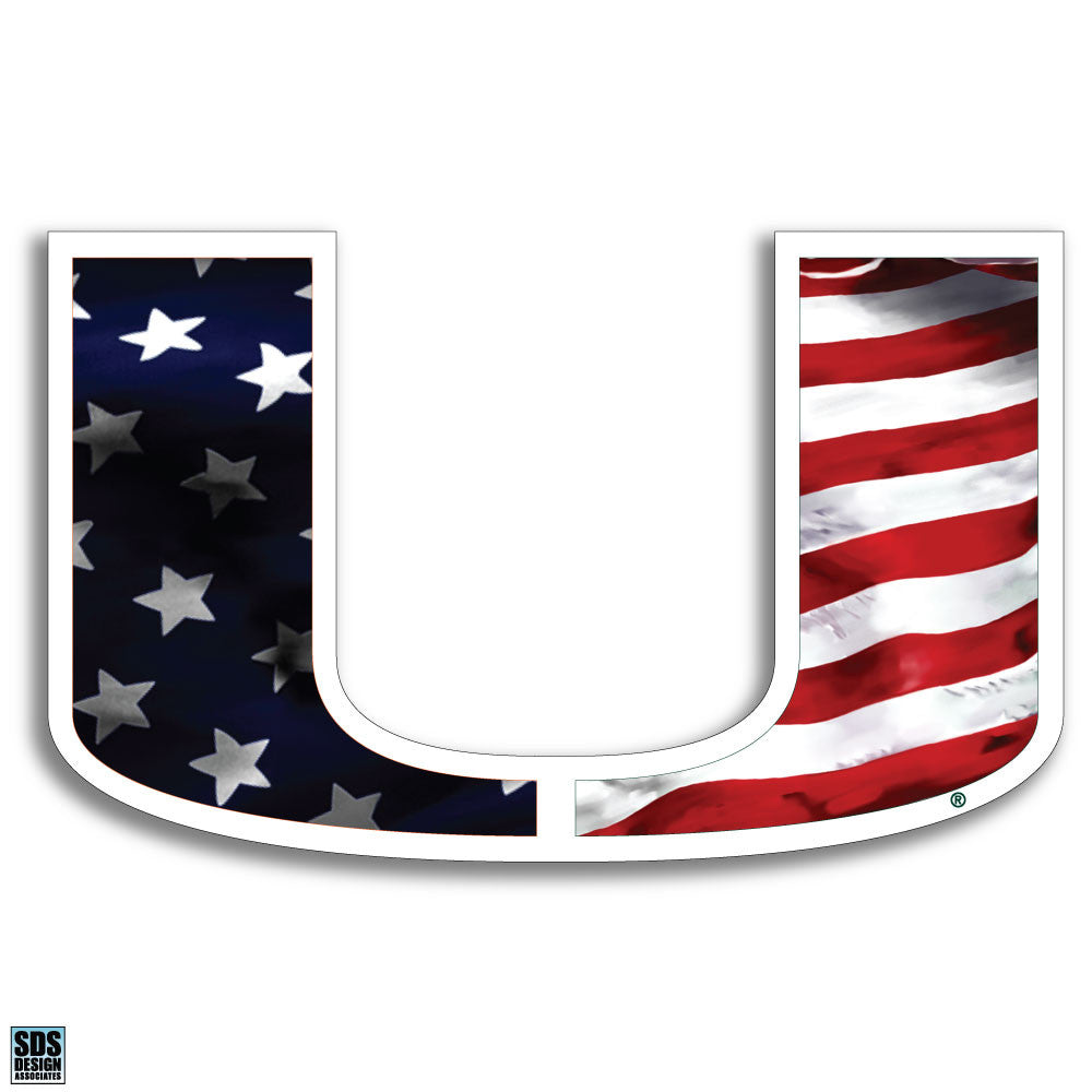 Miami Hurricanes USA Flag Decal - CanesWear at Miami FanWear Decals & Stickers SDS Design Associates CanesWear at Miami FanWear