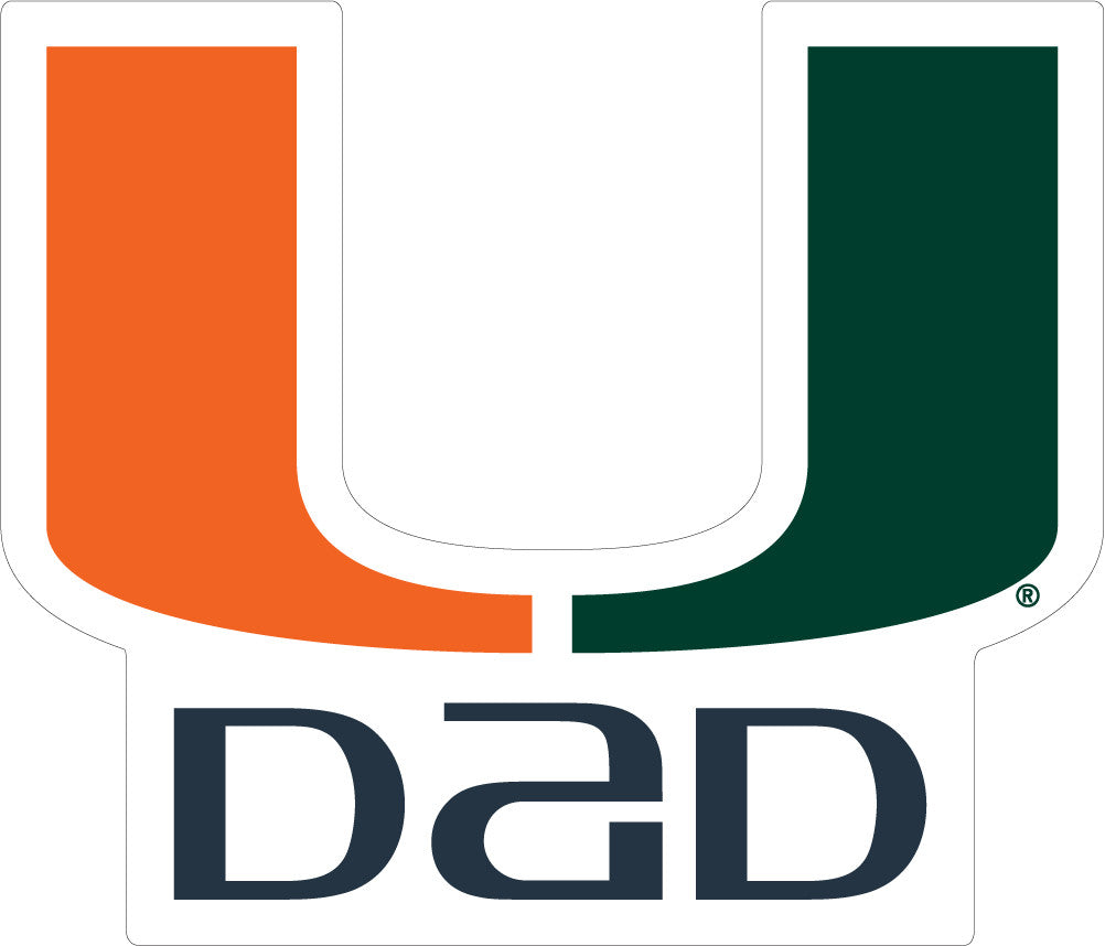 "Miami Hurricanes 3"" Dad Decal - CanesWear at Miami FanWear Decals & Stickers SDS Design Associates CanesWear at Miami FanWear"