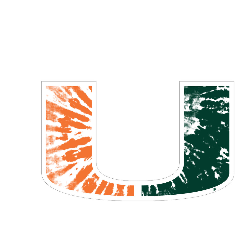 Miami Hurricanes Tie Dye U Logo Decal - CanesWear at Miami FanWear Decals & Stickers SDS Design Associates CanesWear at Miami FanWear