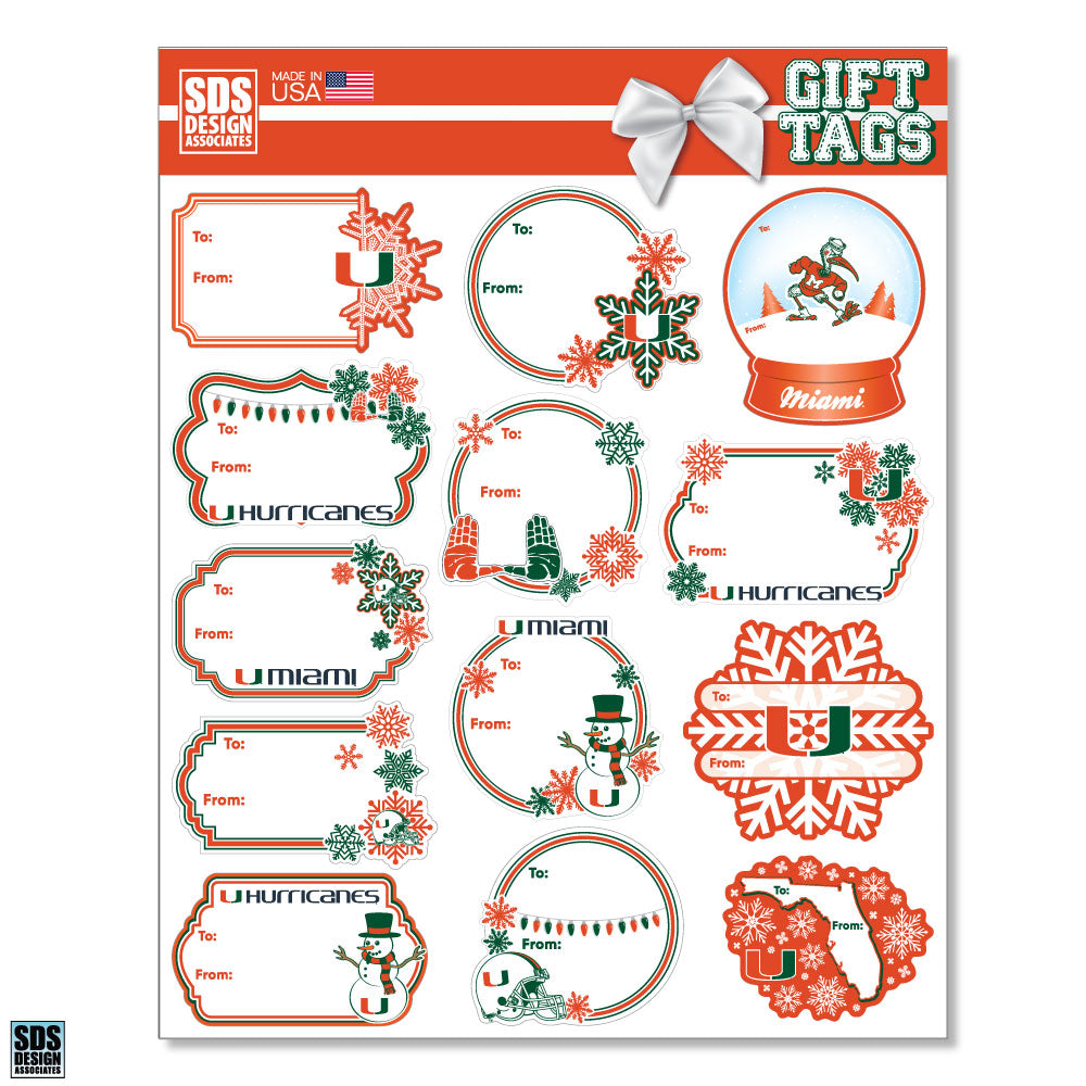 Miami Hurricanes Winter Gift Tags - 13 pk.
