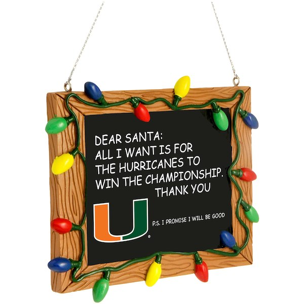 Miami Hurricanes Chalkboard Sign Ornament