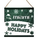 Miami Hurricanes Happy Holidays Banner SIgn