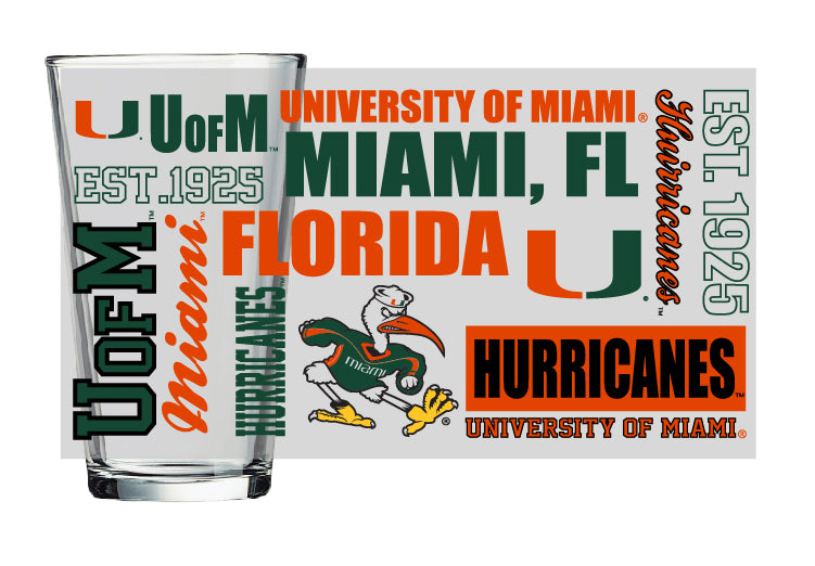 Miami Hurricanes 16 oz True Color Frosted Pint Glass