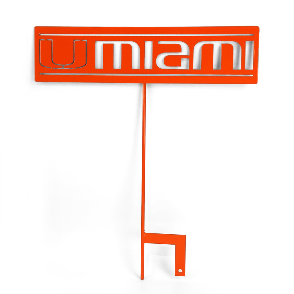 "Miami Hurricanes Metal 16"" x 4"" Sign with Stake - Orange"