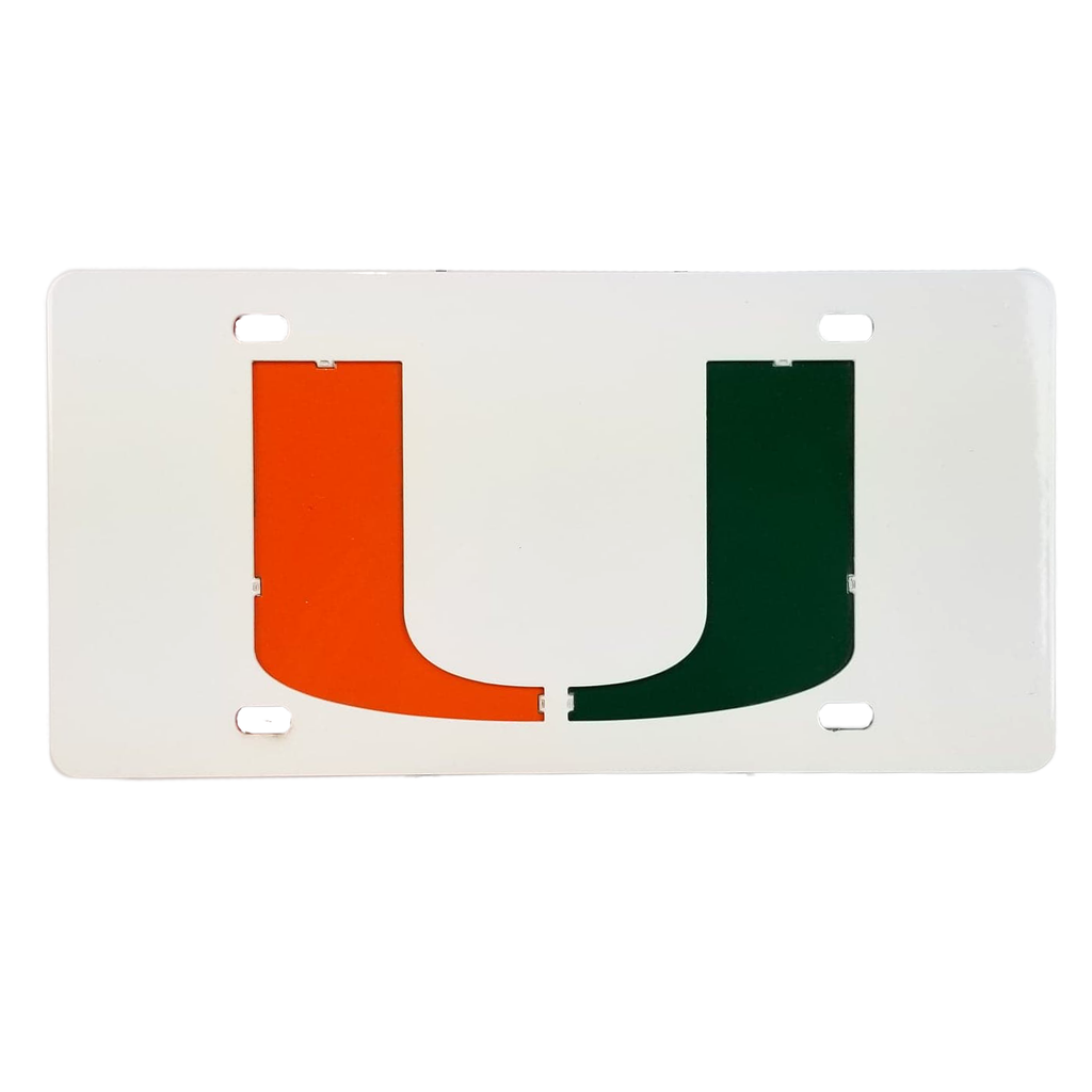 Miami Hurricanes Miami U Metal License Plate - White