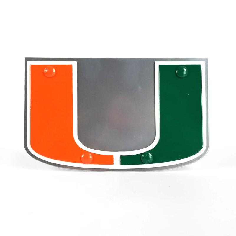 Miami Hurricanes U Logo Hitch Cover - 16 Gauge Steel