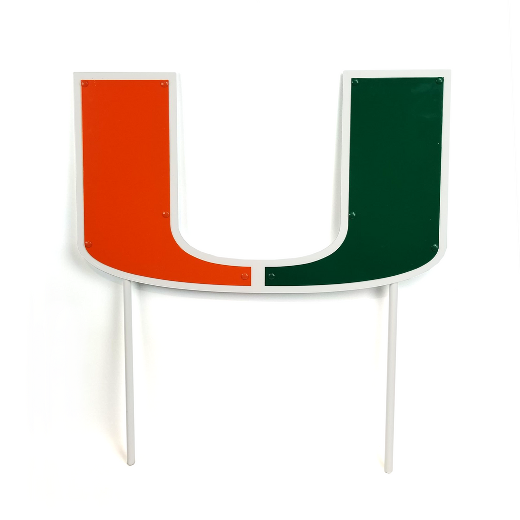 "Miami Hurricanes 24"" Miami U with Stakes Metal Yard Sign"