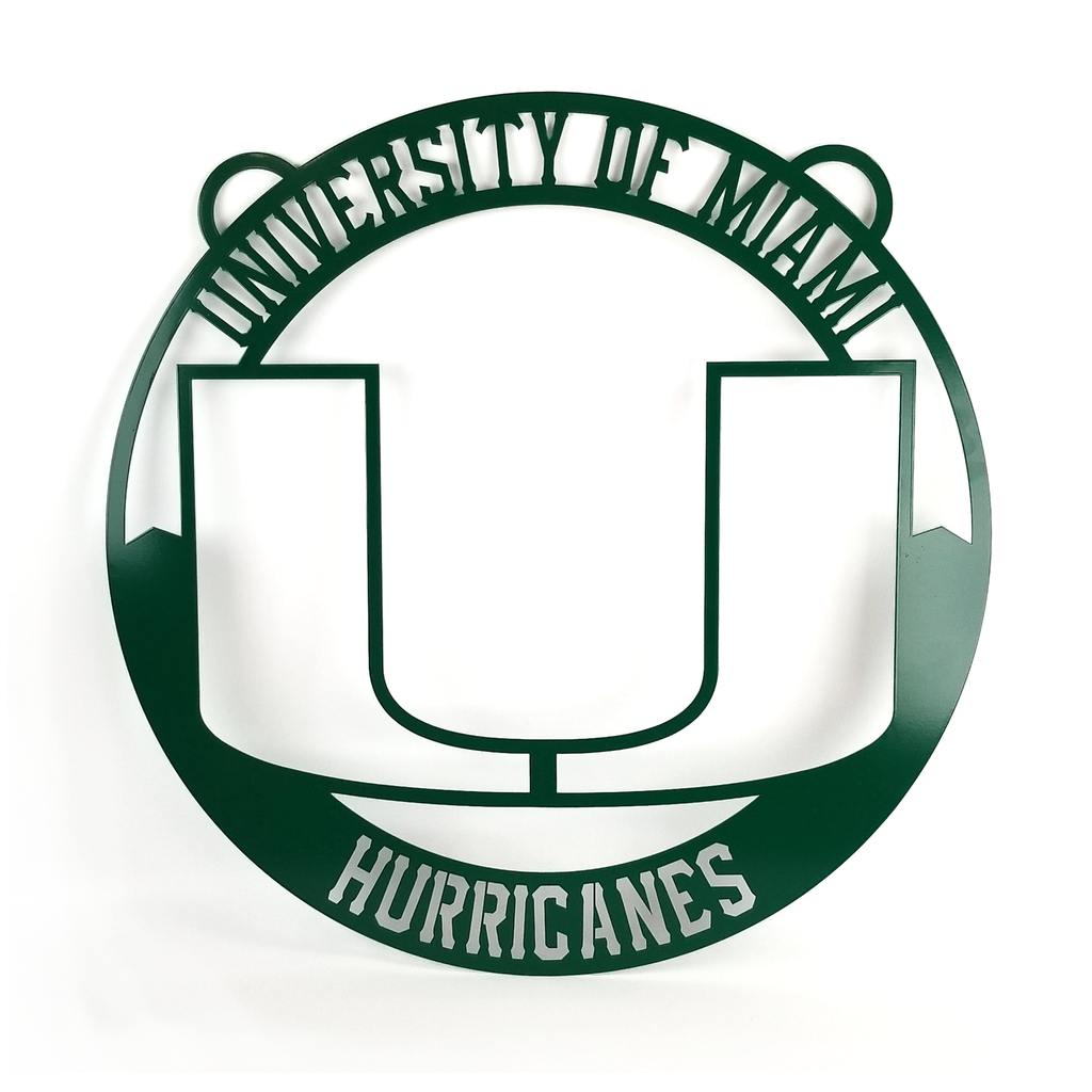 Miami Hurricanes Metal Miami U Welcome Circle Sign - 24""