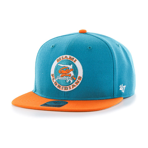 Miami Floridians No Shot Two Tone Aqua/Orange Snapback Hat - CanesWear at Miami FanWear Headwear Forty Seven Brand CanesWear at Miami FanWear