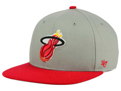 Miami Heat Sure Shot Two Tone Gray/Red Hat - CanesWear at Miami FanWear Headwear Forty Seven Brand CanesWear at Miami FanWear