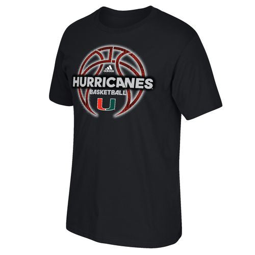 Miami Hurricanes Adidas Fired Up Reflector Basketball T-Shirt - Black - CanesWear at Miami FanWear Men's T-Shirt Adidas CanesWear at Miami FanWear