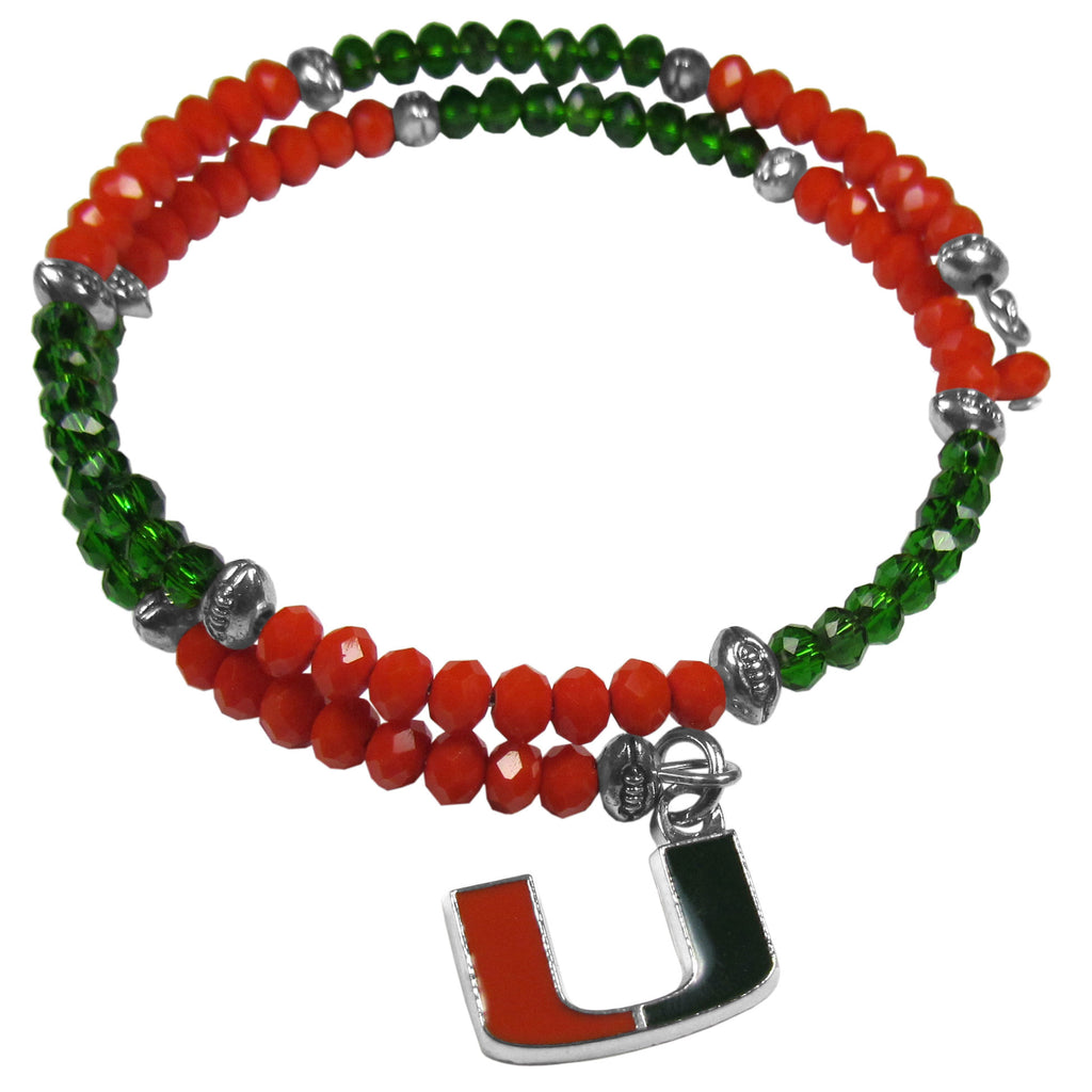 Miami Hurricanes Crystal Memory Wire Bracelet