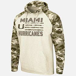 Miami Hurricanes Colosseum OHT Pullover Desert Camo Hoodie - Oatmeal