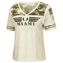 Miami Hurricanes Colosseum OHT Women's Desert Camo V-Neck T-Shirt - Oatmeal