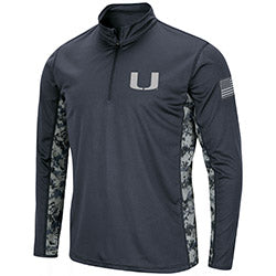 Miami Hurricanes Colosseum OHT Youth 1/4 Zip Digi Camo Shirt - Charcoal