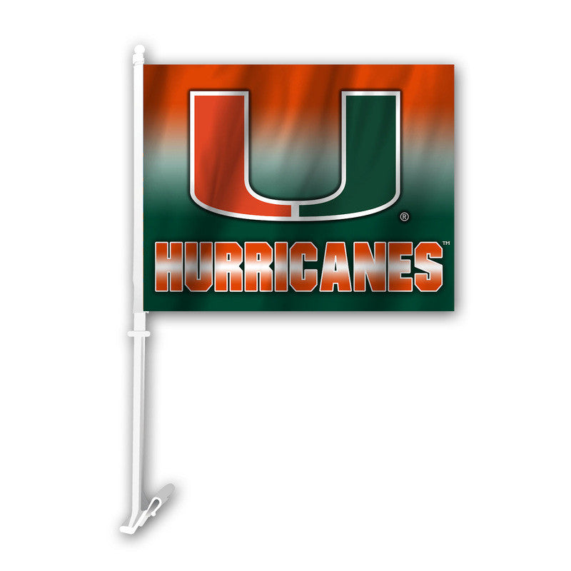 Miami Hurricanes Ombre Car Flag - CanesWear at Miami FanWear Automobile Accessories Fremont Die CanesWear at Miami FanWear