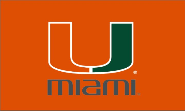Miami Hurricanes U Logo 3x5 Banner Flag - Orange