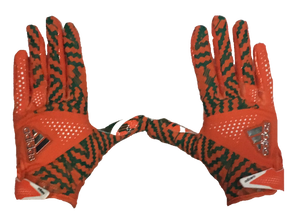 Miami Hurricanes Adizero by Adidas Football Gloves - Orange - CanesWear at Miami FanWear Accessories Adidas CanesWear at Miami FanWear