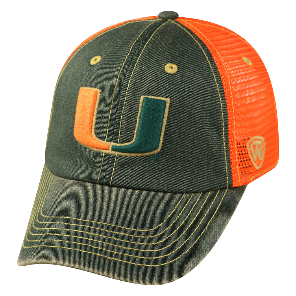 Miami Hurricanes Past Adjustable Two Tone Hat - CanesWear at Miami FanWear Headwear Top of the World CanesWear at Miami FanWear