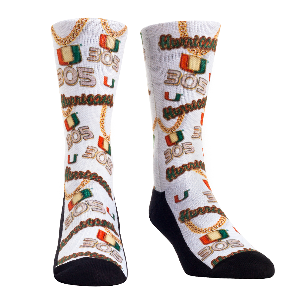 Miami Hurricanes 305 Turnover Chain Icons Crew Socks
