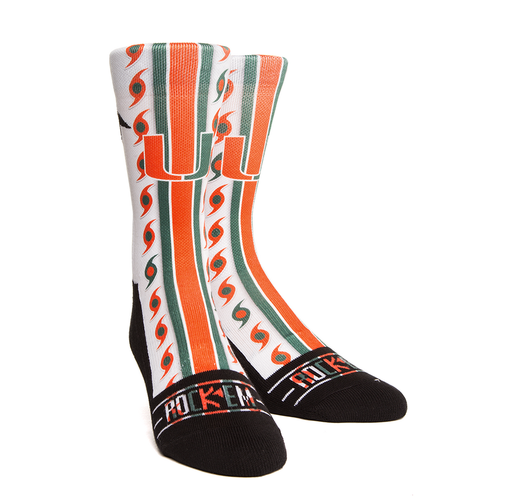 Miami Hurricanes Rock'em Socks Helmet Series - White - CanesWear at Miami FanWear Footwear & Socks Rockem CanesWear at Miami FanWear