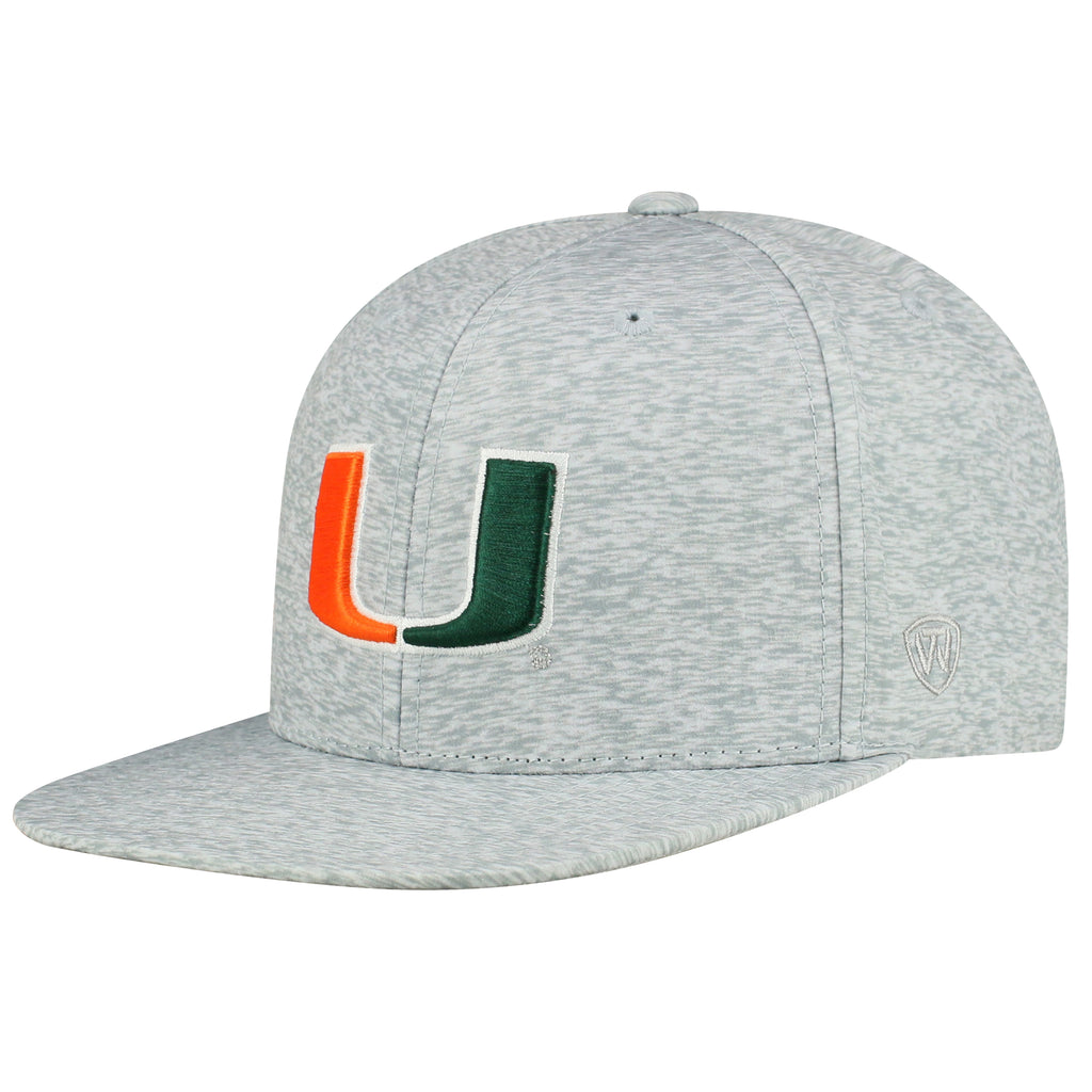 08dc5a0f1283d Miami hurricanes Top of the World 2018 Solar Snapback Grey Hat