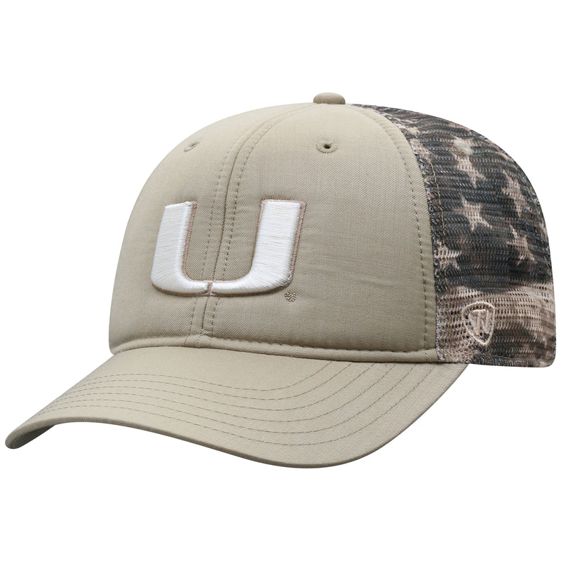 Miami Hurricanes Top of the World Sanders Adjustable Two-Tone - Beige