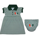 Miami Hurricanes Baby Striped Polo Dress with Bloomers - CanesWear at Miami FanWear Baby Apparel Creative Knit CanesWear at Miami FanWear