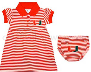 Miami Hurricanes Baby Striped Game Day Dress with Bloomers - CanesWear at Miami FanWear Baby Apparel Creative Knit CanesWear at Miami FanWear