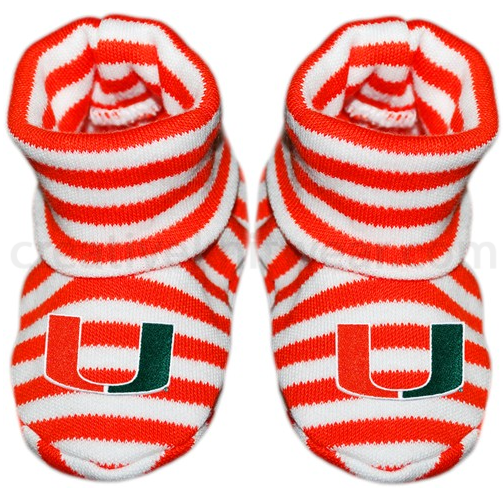 Miami Hurricanes Infant Striped Booties - CanesWear at Miami FanWear Infant Apparel Creative Knit CanesWear at Miami FanWear