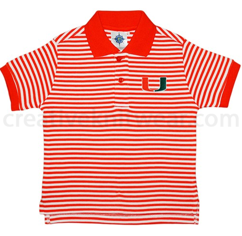 Miami Hurricanes Toddler Striped Polo Shirt - Orange