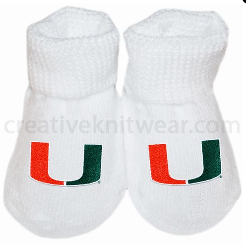 Miami Hurricanes Gift Box Booties by CK - CanesWear at Miami FanWear Infant Apparel Creative Knit CanesWear at Miami FanWear